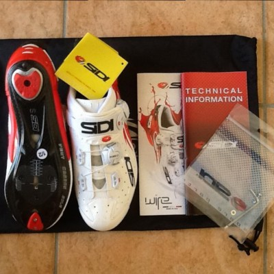 Brand New 2015 Sidi Carbon Vernice Road Shoes - Red and White - Size 40.5