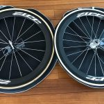 Zipp carbon track wheels with Vittoria Pista Evo tubes
